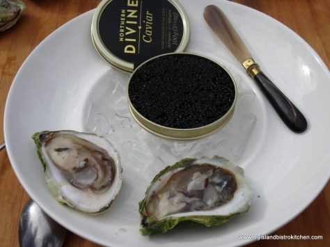 Caviar, a fine accompaniment to a Colville Bay Oyster