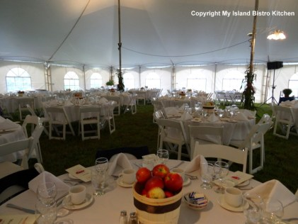 Interior of the tent set up in the middle of the apple orchard in Arlington, PEI, for the Applelicious Event (2013)