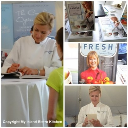 Chef Anna Olson autographing her cookbooks at the 2013 Applelicious Event in Arlington, PEI