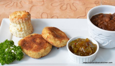 Green Tomato Chow with Fish Cakes, Baked Beans, and a Homemade Biscuit