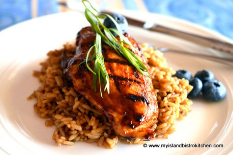 Blueberry Barbeque Sauce on Grilled Chicken Breast