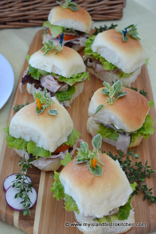 Ham, Cheese, and Tomato Sliders