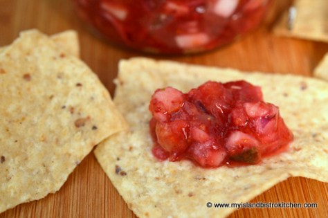 Chunky Cranberry Salsa on Nachos