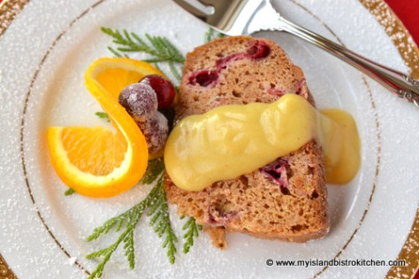 Steamed Cranberry Pudding with Eggnog Sauce