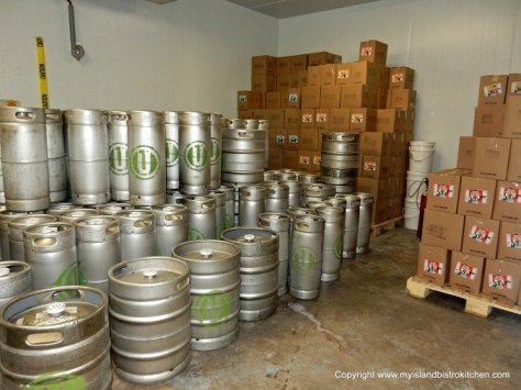 Inside the cooler at Upstreet Craft Brewing