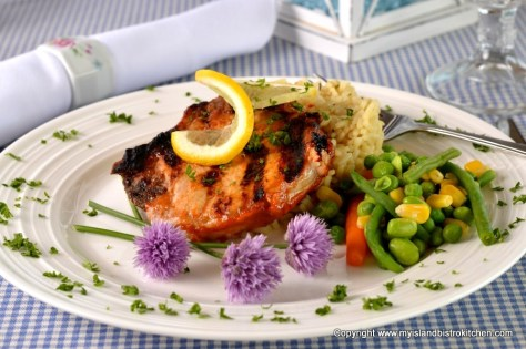 Porkchops with Rhubarb and Beer Barbeque Sauce
