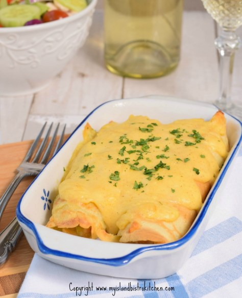 Chicken and Mushroom Crepes with Cheese Sauce