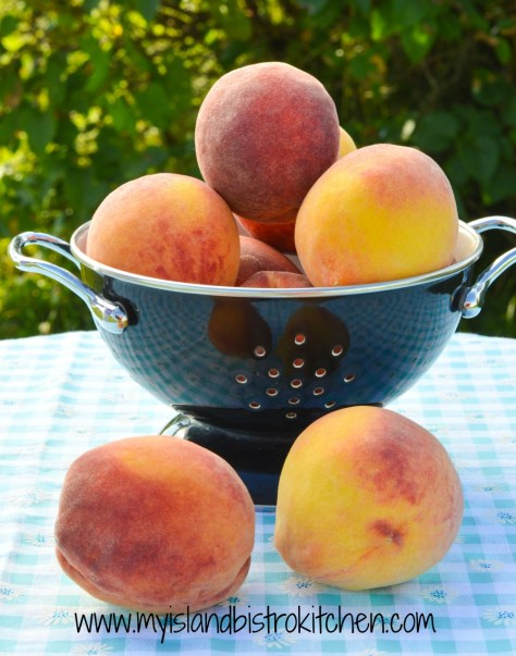 Colander of Fresh Peaches