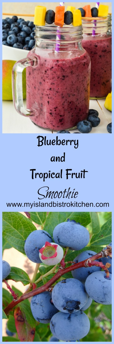 A delicious smoothie made with a blend of blueberries, tropical fruits, lavender yogurt, and mango-citrus fruit juice