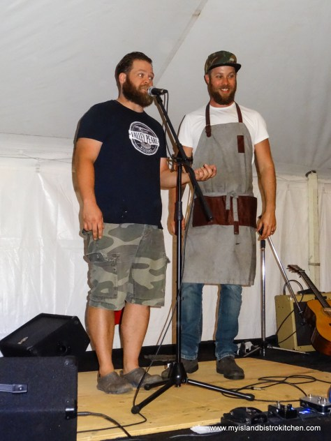 "Jeff Noye, MC (left) introduces Guest Chef, Jesse Verden, at the ""Taste of Tyne Valley"" PEI Fall Flavours 2017 Event"