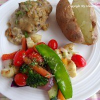 Pork Chops with Bread Stuffing and Creamy Mushroom Sauce