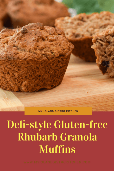 Deli-style Gluten-free Rhubarb Granola Muffins