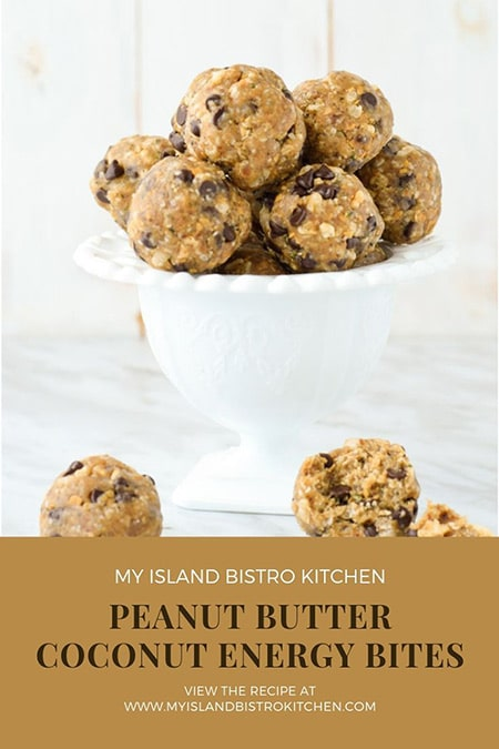 White Pedestal Dish Filled with Peanut Butter Coconut Energy Bites