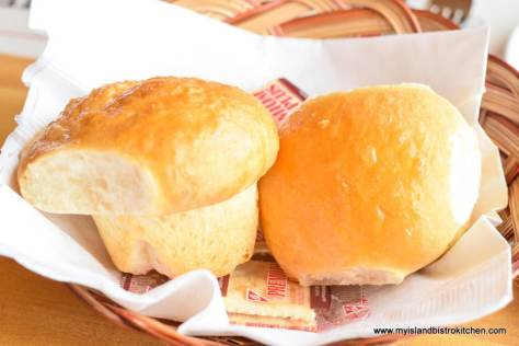 Basket of warm homemade rolls at Fisherman's Wharf Lobster Suppers