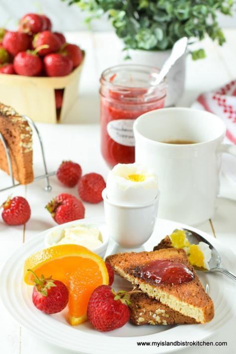 Breakfast featuring Strrawberry Rhubarb Freezer Jam