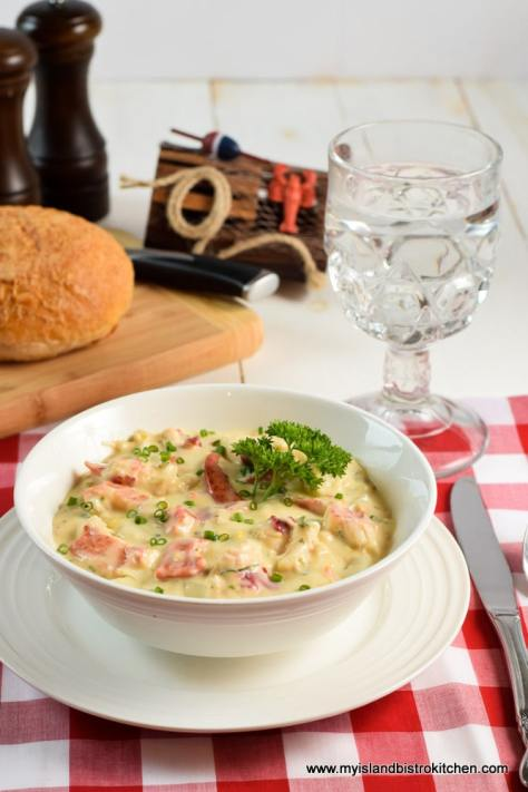 Lobster Chowder Served with Artisan Bread