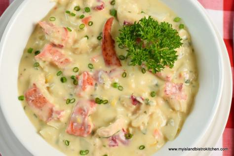 Bowl of chowder made with PEI Lobster and Potatoes