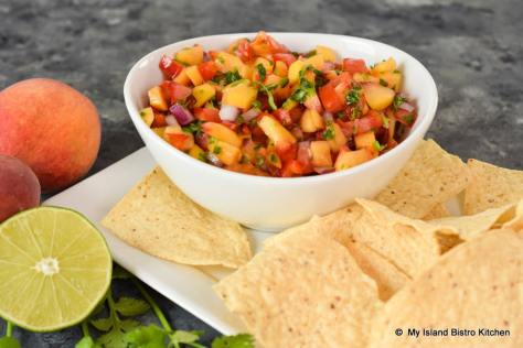Bowl of Fresh Peach Salsa
