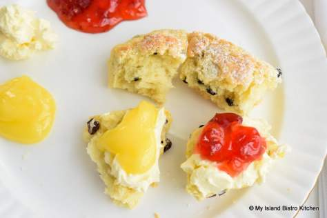 Scones with Strawberry Jam, Lemon Curd, and English Double Cream