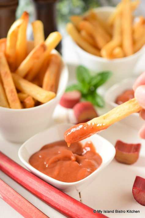 French Fries dipped in Rhubarb Tomato Ketchup