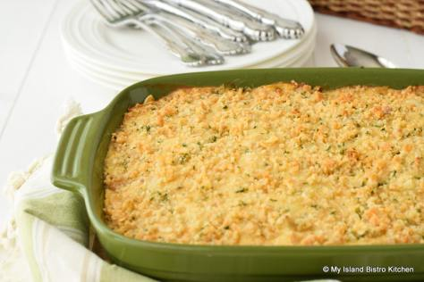 Chicken and Ham Casserole with a Crushed Cracker Topping