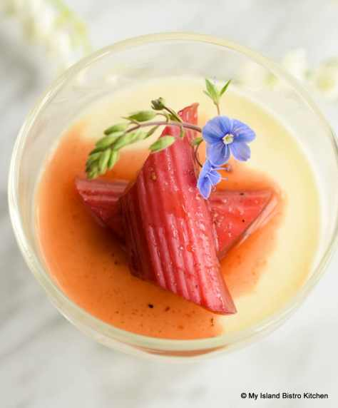 Roasted Rhubarb atop Panna Cotta
