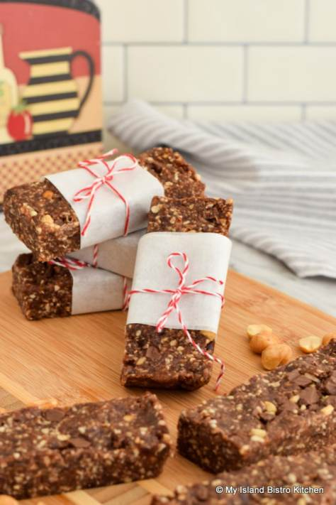 Snack Bars Made with Roasted Peanuts, Chocolate, and Coffee
