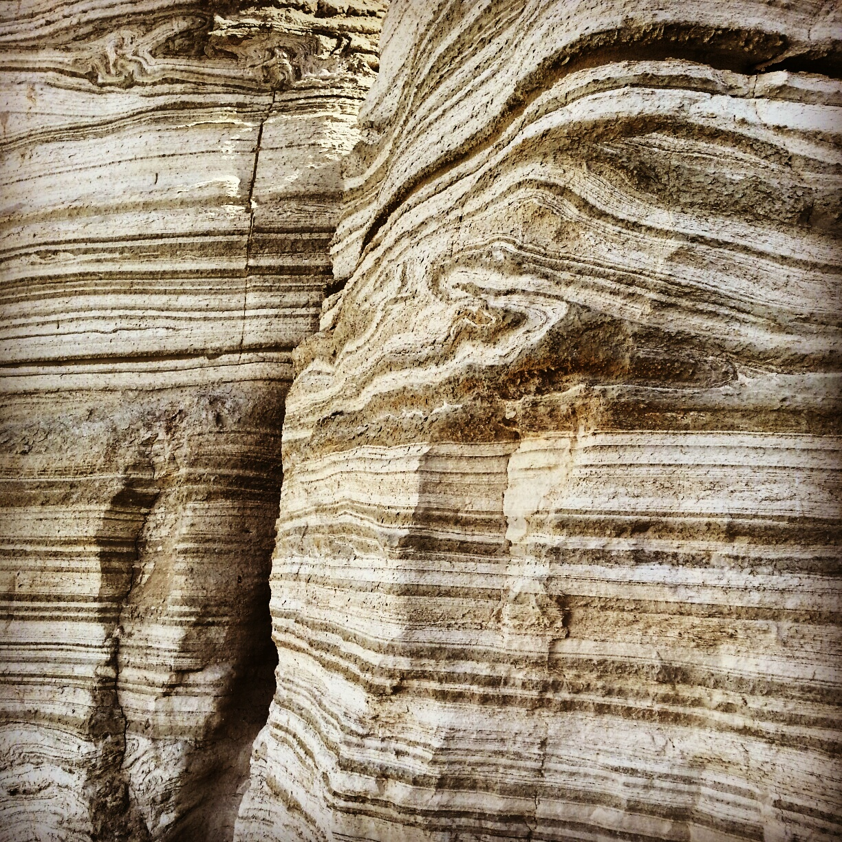 Layers of sedimentary rock in Nachal Peratzim