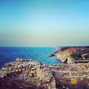 View North up the coast from Apollonia Ruins