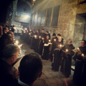 Roman Catholic mass inside the Church of the Holy Sepulchre
