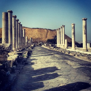 The ancient shopping street (cardo) of Beit Shean (Scythopolis)