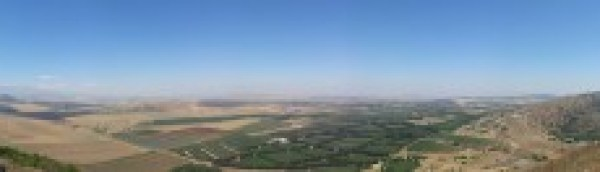 View towards the Syrian border with Israel from Mt Bental