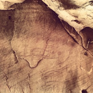 Ancient hunting scene etched in the rock at Timna