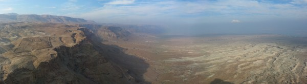 View north from Masada towards Ein Gedi and the Dead Sea. Note the remains of the Roman camp on the left.
