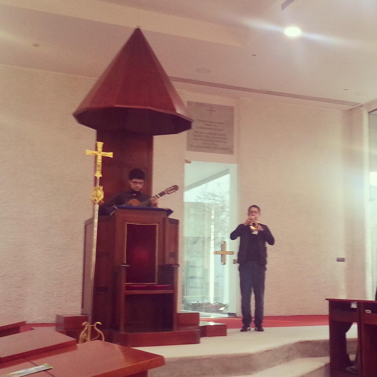 Musical presentation at Domus Galilaeae