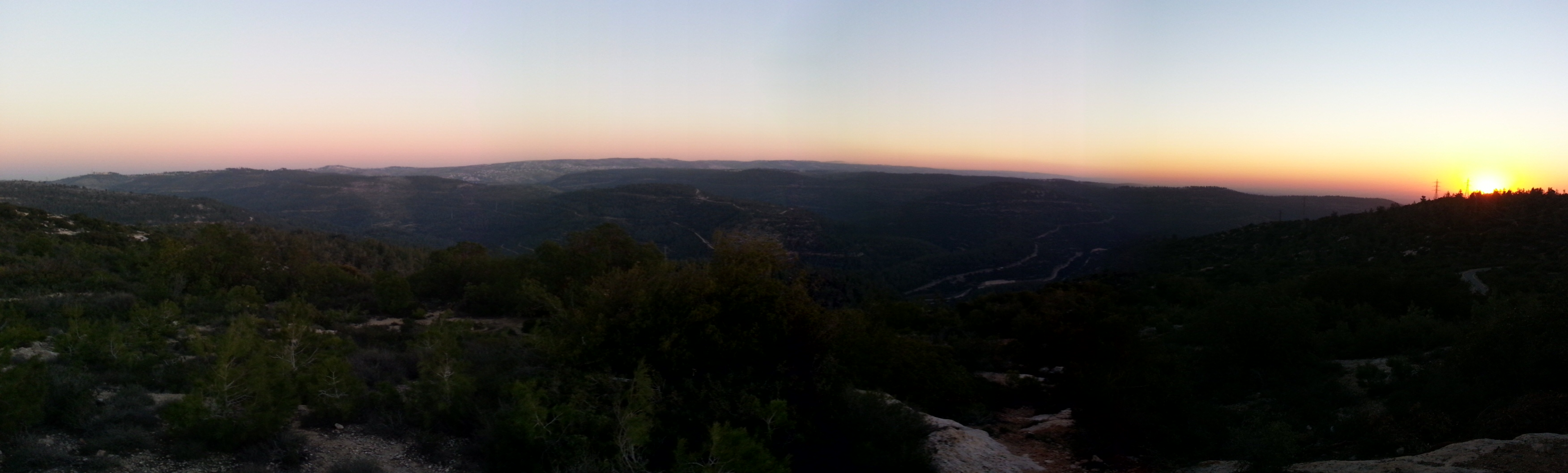 Sunset over Nachal Soreq and the Judean Mountains from the Pilots' Mountain lookout