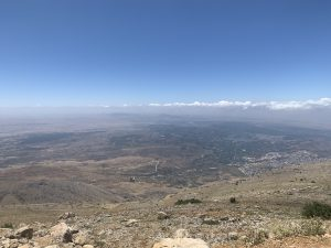 Looking out over the border between Israel and Syria in the Golan Heights from Mt Hermon.