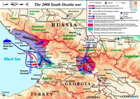 Карта продвижения вооруженных сухопутных сил России по территории Грузии и вона в акватории Черного моря
