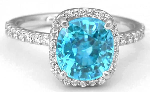 Cushion Cut Blue Zircon Ring In 14k White Gold (gr1135