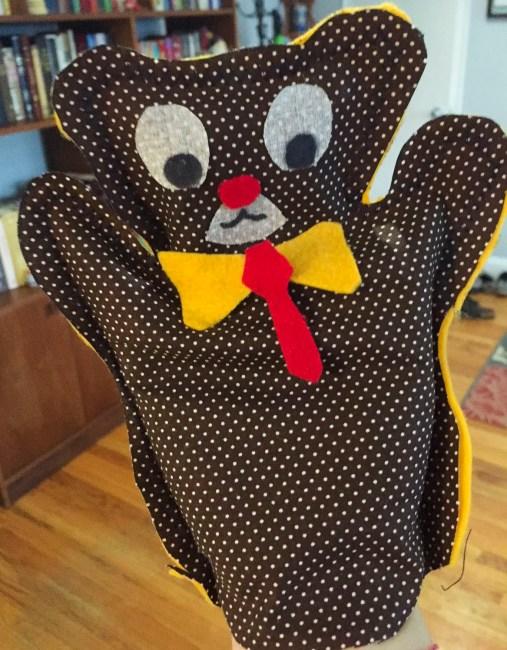 Becky's attempt at a hand puppet.