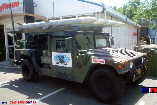 The CLAWS (Complementary Low Altitude Weapon System) AMRAAM missiles mounted on M1097A2 HMMWV, Eurosatory, 06/2006.