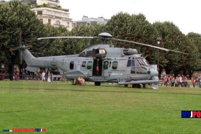 French Armée de l'Air H225M/EC725R2 Caracal of the Escadron d'Hélicoptères 1/67 Pyrénées (EH01.067), Esplanade des Invalides, Paris, July 14, 2009.