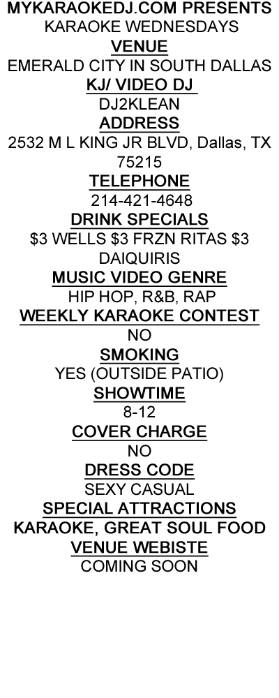 karaoke wednesdays at emerald city bar and grill in south dallas