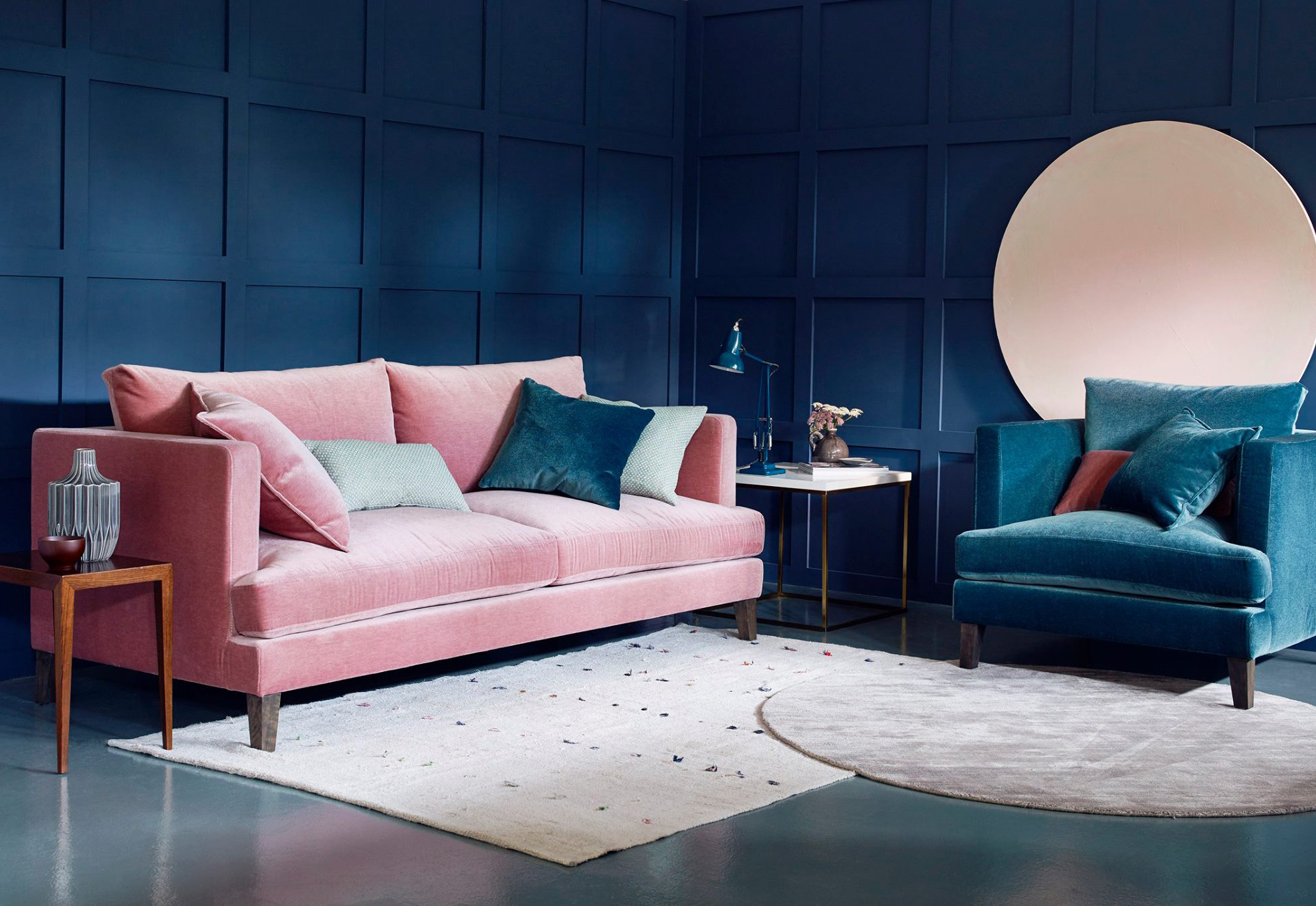 one sofa living room ideas florida blush and navy interior feature the latest trend in ...