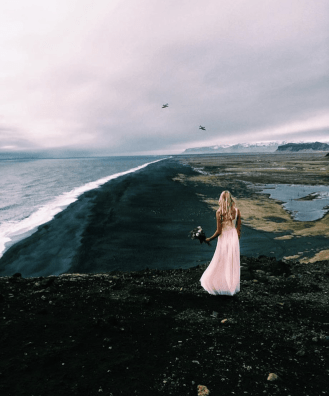 Pink flowy dress in Iceland