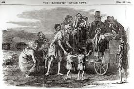 Famine -Miss Kennedy distributing clothing at Kilrush Ill Lond News 22 Dec 1849