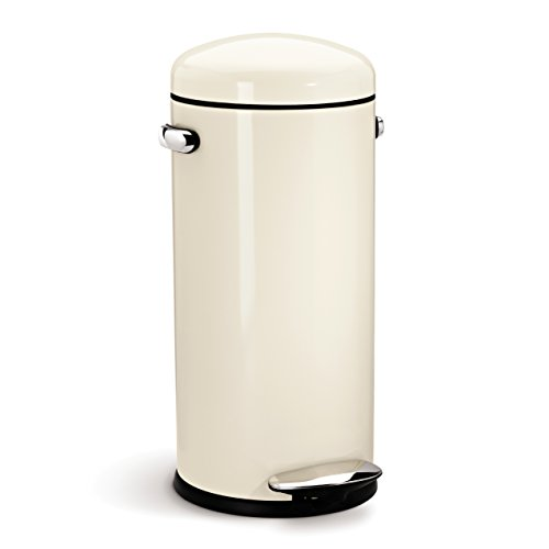 simplehuman kitchen trash can scraper 30 litre retro pedal bin - cream steel my ...