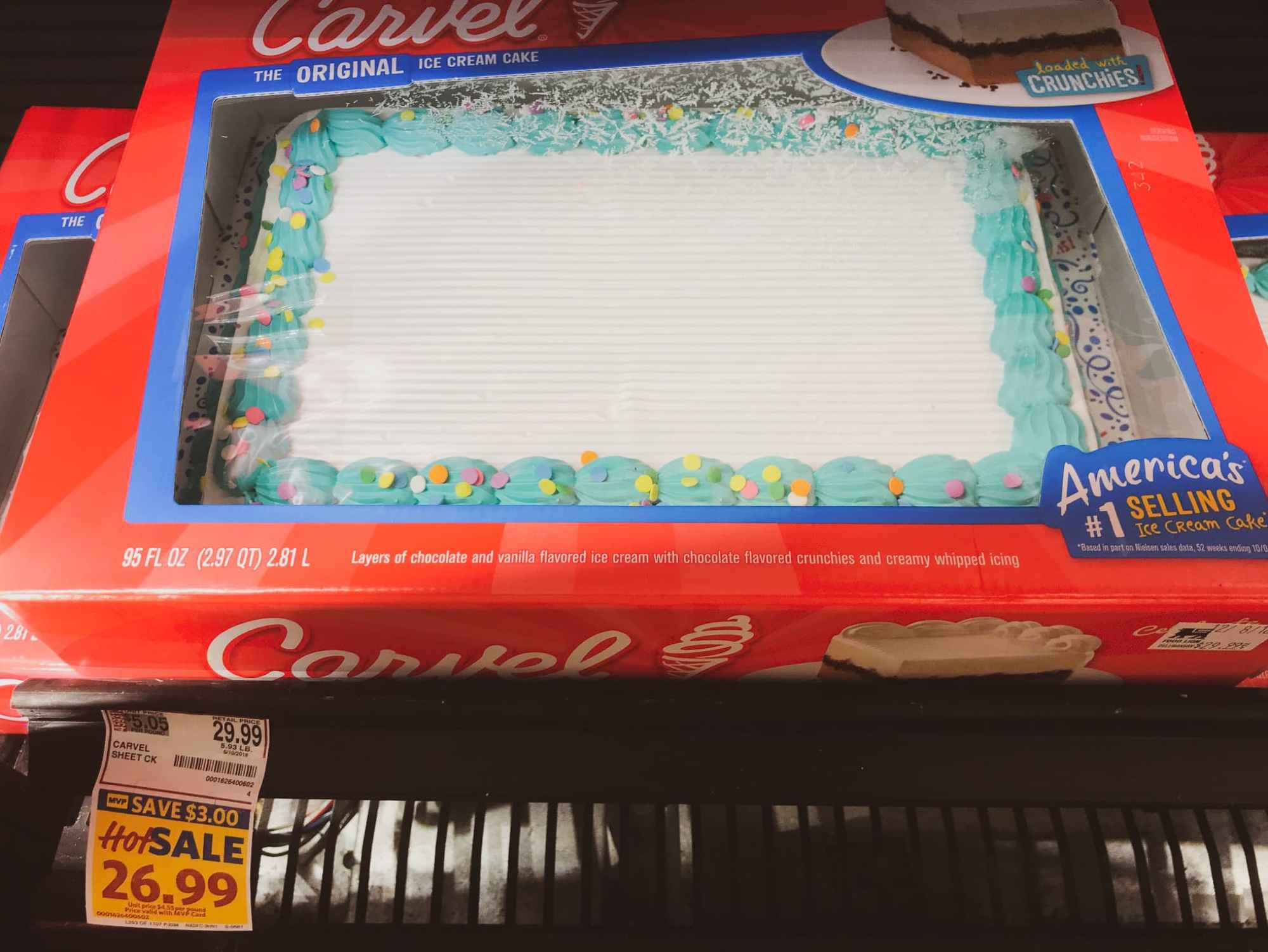 Carvel Ice Cram Cake In The Freezer At Food Lion Ready To Be Transformed