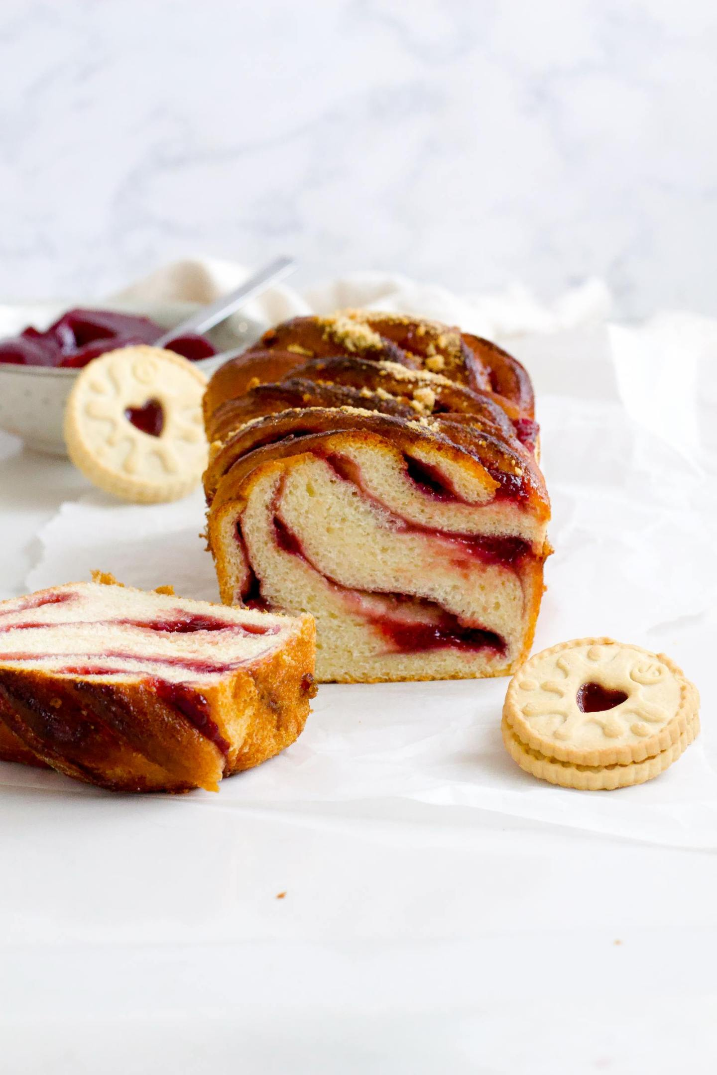 A white loaf with Jammy swirling centre