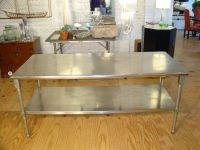 Stainless steel kitchen island Photo